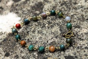 India Agate Onyx Faceted Gem Beaded Bracelet by Clerdy