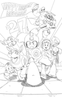 Mega Man 27th Birthday pencils by RyanJampole
