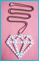 White - Blue Diamond Necklace by cherryboop