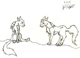 Scroungy Wolves by KibaDVahnGoth