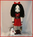 Creepy rag doll with voodoo dolly by Zosomoto