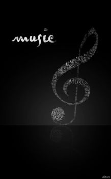 typography art: music in black by a0it0m0e
