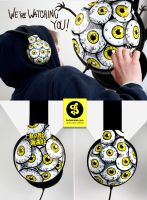 We watching you- creepy eyeballs Headphones by Bobsmade