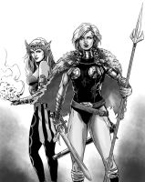 Valkyrie and Enchantress by MarcLaming