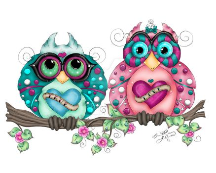 Spring Fling Owl Pair by concettasdesigns