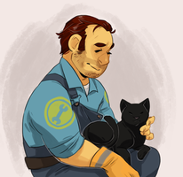 AN ENGINEER AND HIS CAT by AgentDax