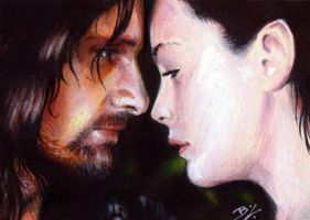 Aragorn and Arwen Sketch Card by Ethrendil