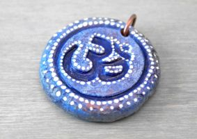 Clay Blue Om Pendant by OneUrbanTribe