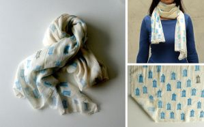 White Cotton TARDIS Scarf by lazylinepainterjane