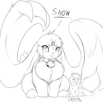 Snow and Crystal the cabbits by RickyDemont