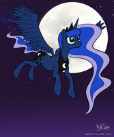 Luna In Flight by xAxiom