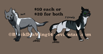 Characters for sale by BlackDeaWing14