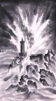 Lighthouse amidst Waves by catherinejao