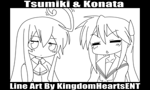 Tsumiki and Konata Line Art by KingdomHeartsENT