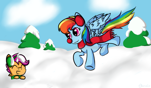 Rainbow Dash, Scootaloo and snow! by MMarceline