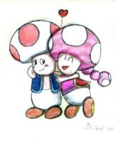 Toad and Toadette by gamecubegirl1