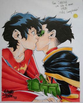 Super Sons Kiss by xiannustudio