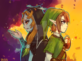 twilight princess -- Midna and Link by onisuu