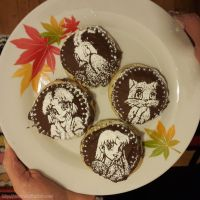 Stencil cookies with my manga characters by starca