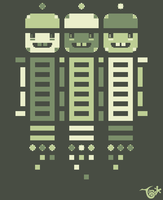 Acorn Rocket Bots Green by knitetgantt