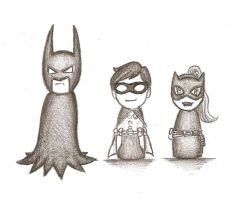 Chibi Batman, Robin and Catgirl :3 by Tolina