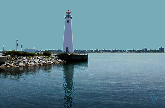 Lighthouse in a Detroit Waterfront Park, view 1 by JJPoatree