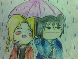 Edward Elric and Roy Mustang by demonlucy