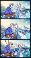 Jack/Elsa: surprise kiss by deviart4ever