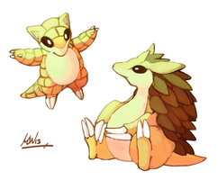 Sandshrew and Sandslash by Tropiking