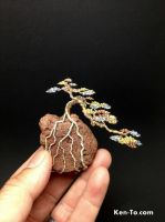3-color wire mame bonsai tree by Ken To on a rock by KenToArt