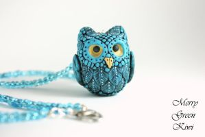 Cute owl pendant, polymer clay by MerryGreenKiwi