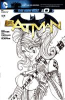 Harley Quinn Sketch Cover on The New 52 #0 Batman by jamietyndall