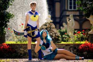 Sailor Uranus and Sailor Neptune by onlyagame89