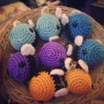 colored bumbles ~ for sale on Etsy by theyarnbunny