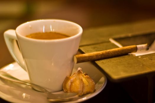 Coffee and cookie with a cigar by ReddoMester