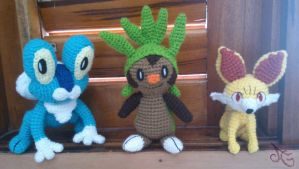 Kalos Starters! Froakie, Chespin and Fennekin. by AmiAmaLilium