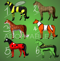 Part1of Animal-Themed Horse Adoptables. BIDDING by RidingInLongSocks