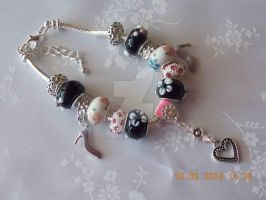 Pink and black charm bracelet by Quested-Creations