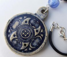 Ceramic Blue Celtic Style Pendant Necklace by RowanSong