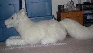 Giant white wolf plush by Bladespark