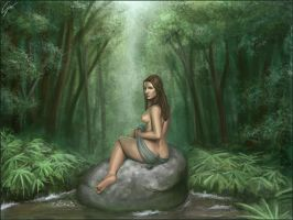 Naiad on a Rock by godofwar