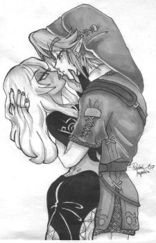Link and Midna almost kiss by kinkywinky