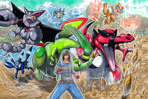 Commission: Pokemon Team by matsuyama-takeshi