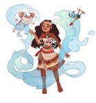 Moana ,Pua , Hei hei and ocean by ChocoHal