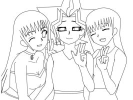collab- lineart of Britt,Atem and Umi by QueenBrittStalin