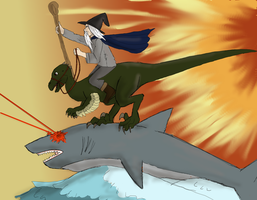 Epic wizard riding shark surfing raptor by Biali