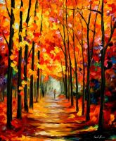 Red alley oil painting on canvas by Leonid Afremov by Leonidafremov