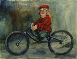 Monkey on a Bicycle by LauraWilde