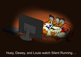 Huey, Dewey, and Louie watch Silent Running by systemcat