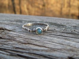 Ethiopian Opal ring in blackened silver by whippetgirl